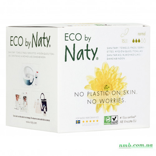 Органические прокладки Eco by Naty Normal 15 шт БЕЗ КРЫЛЫШЕК фото