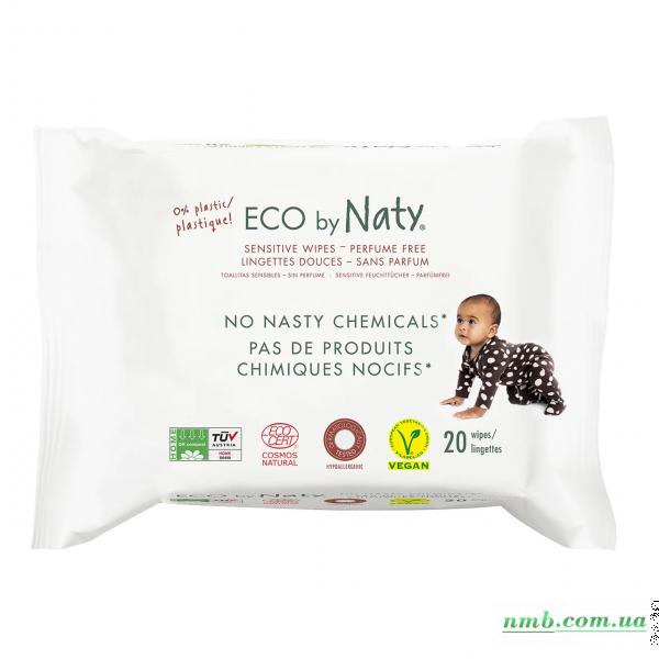 Органічні серветки Eco by Naty без запаху для подорожей, 20 шт. фото