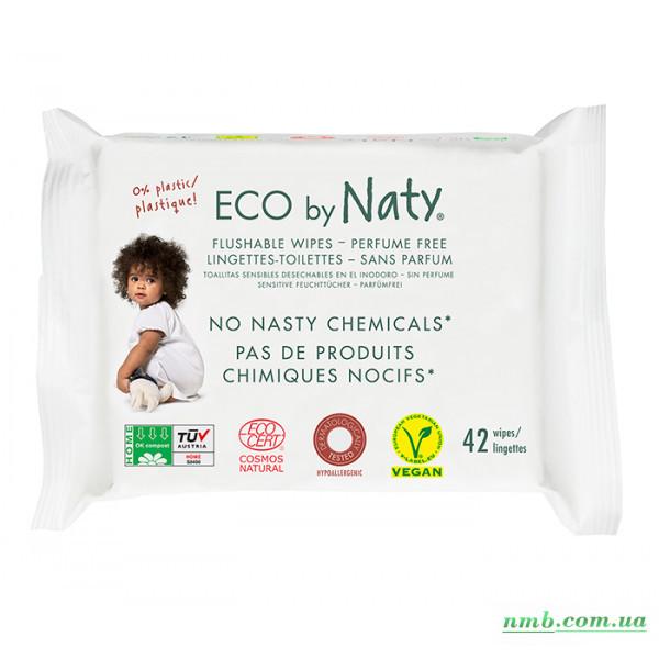 Органічні серветки Eco by Naty, що змиваються, з легким запахом 42 шт фото