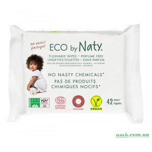 Органічні серветки Eco by Naty, що змиваються, з легким запахом 42 шт