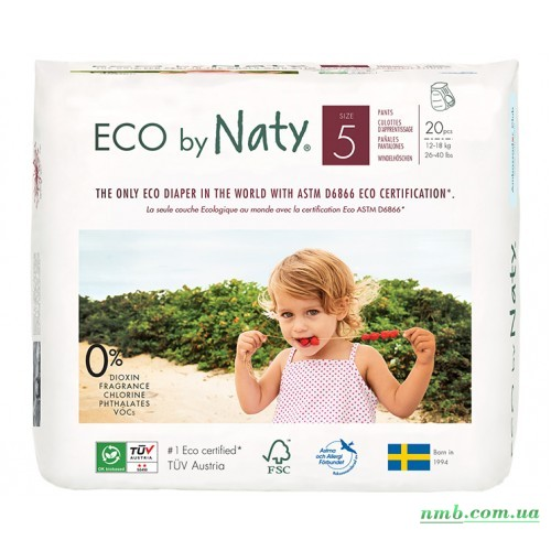 Органические подгузники трусики Eco by Naty Размер 5 (от 12 до 18 кг) 20 шт фото