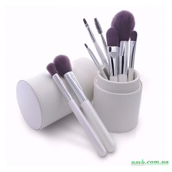 Комплект набірних кистей для макіяжу у білому тубусі з эко-кожи. 8 шт фото