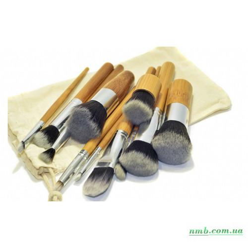 Кисти для макияжа косметические в мешке, 10 шт. + кабуки фото