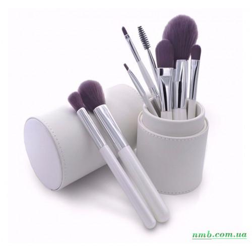 Комплект наборных кистей для макияжа в белом тубусе из эко-кожи. 8 шт фото